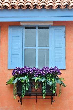 window panes: European style window Stock Photo