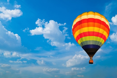 hot air balloon with beautiful blue sky and nice cloud in Thailand. Фото со стока
