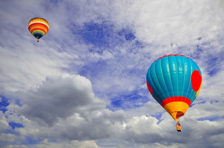Hot air balloon with beautiful blue sky and nice cloud in Thailand. Stock Photo - 10308949