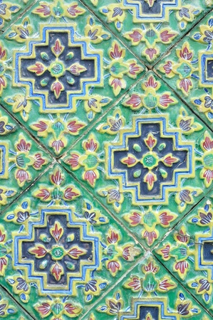 spanish tile: Ancent Ceramic tile decorated with Thai art