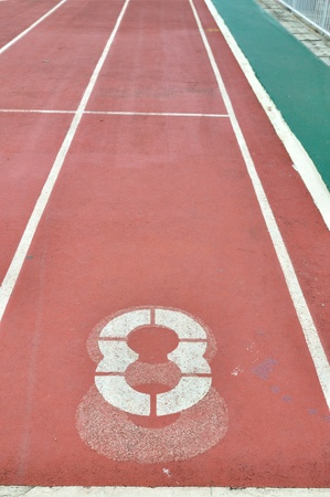 Athlete track with number 8 in Bangkok, Thailand. Stock Photo - 10335455