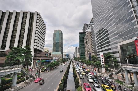 bangkok city: Sathorn, Street of Bangkok, Thailand Editorial