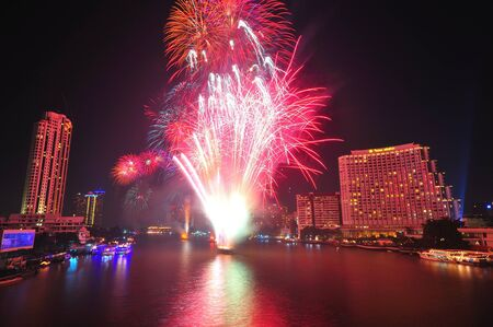 olympic sports: Firework in Chaopraya river Editorial