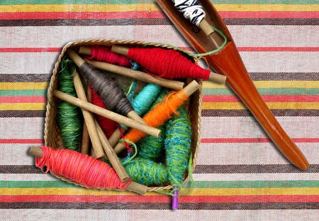 spool of thread and shuttle of thai cloth weaving machine photo