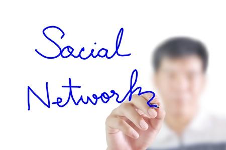 Man write the word Social network photo