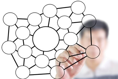 Man write blank social network diagram Stock Photo - 10552170