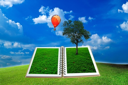 Open book with tree and hot air balloon over green field and blue sky photo