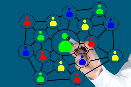 Hand of business man write a social network chart or diagram Stock Photo - 10627693