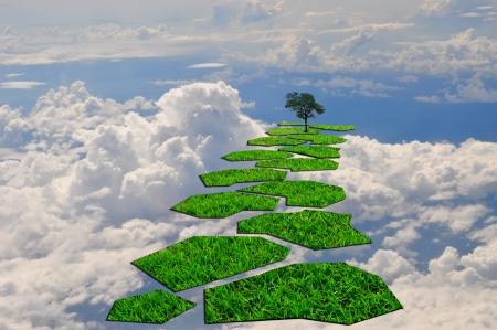Stairway or step to the lonely tree in the blue sky photo