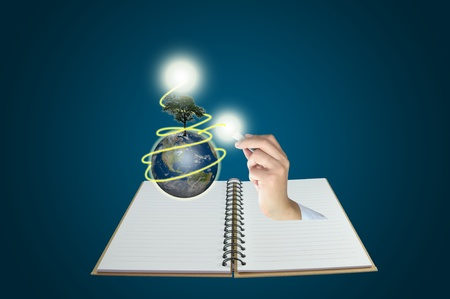 Male hand draw earth globe with tree on abstract background as conceptual image. photo
