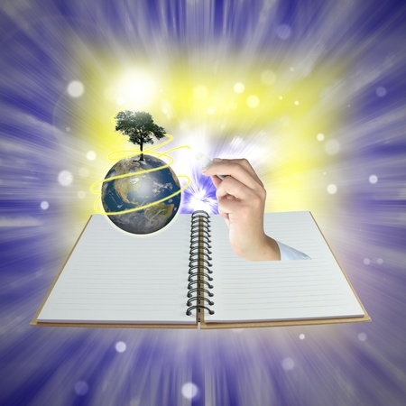 Male hand draw earth globe with tree on abstract background as conceptual image. Stock Photo - 10725781