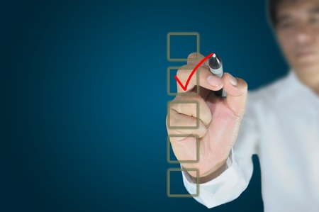 Hand of business man write a choice  Stock Photo - 11041667