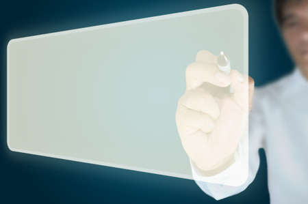 Hand of business man write a blank flying button  Stock Photo - 10834042