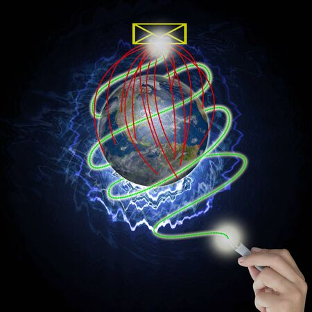 Male hand draw earth globe with tree on abstract background as conceptual image. Stock Photo - 10834093