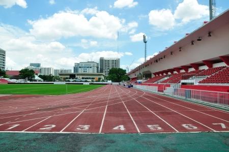 Athlete track in the stadium, Bangkok. photo