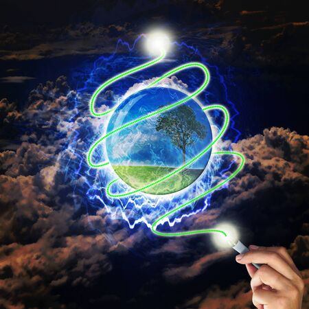 Male hand draw earth globe with tree on abstract background as conceptual image. Stock Photo - 10836767