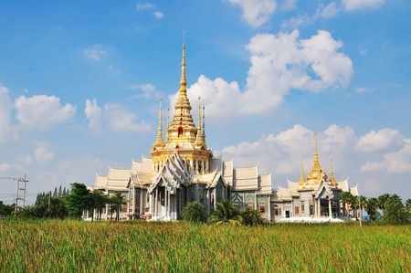 korat: Thai temple in Korat with blue sky  Stock Photo