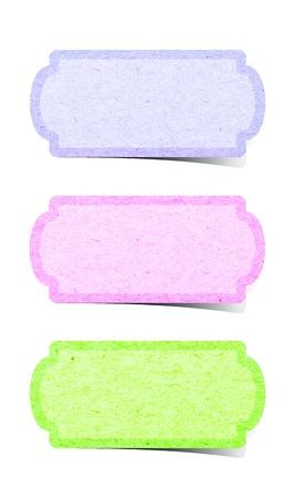 papel reciclado: Recicle el papel etiqueta de pegarse en el fondo blanco