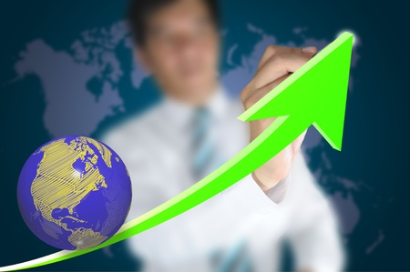 Hand of business man write a 3d business graph on tablet pc touch screen Stock Photo - 11184000