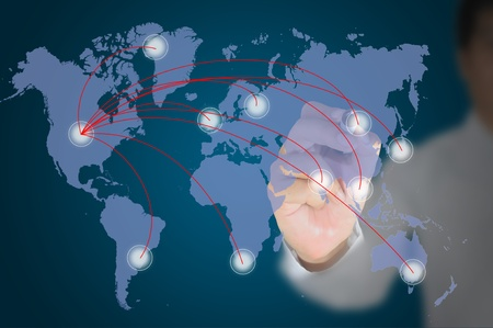 Business man write internet diagram on world map photo