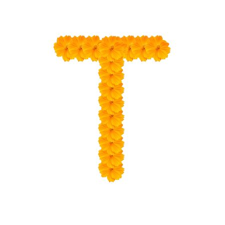 alphabet T from yellow and orange flowers. Isolated on white background. With clipping path photo