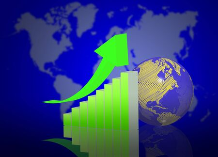 3d graph with earth globe on world map background photo