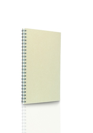 book of recycled paper on white background with clipping path photo