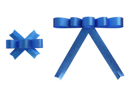 blue ribbon bow isolated on white, clipping path included photo