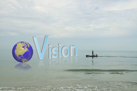 Fisherman looking at the word vision and earth globe in business concept photo