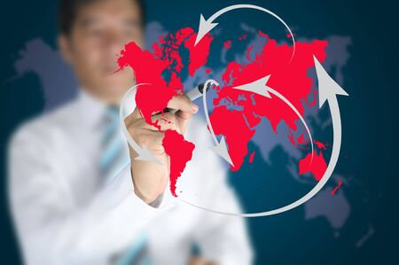 Business man write global network or globalization concept on touch screen Stock Photo - 11409903