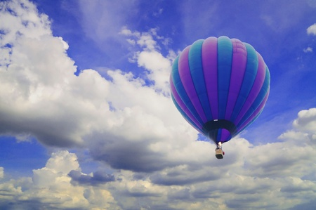 hot air balloon with beautiful blue sky photo