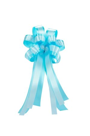 light blue ribbon bow isolated on white, clipping path included Stock Photo - 11409925