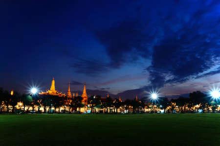 phra si rattana chedi: Royal grand palace at dawn in Bangkok, Thailand.