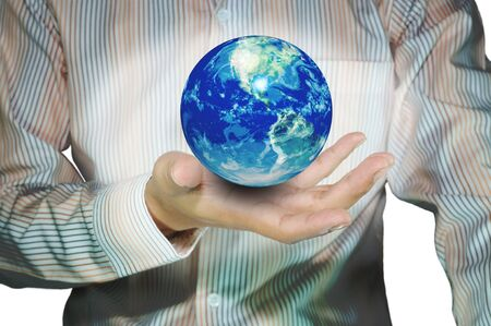 Earth globe in hand of business man Stock Photo - 11617792
