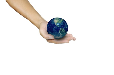 Earth globe in male hand photo