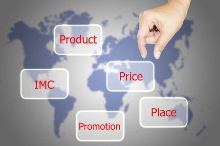 sostener la mano del hombre de negocios concepto de marketing mix con el mundo de fondo del mapa photo