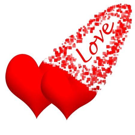 3d Heart with the word Love.  Clipping path included photo