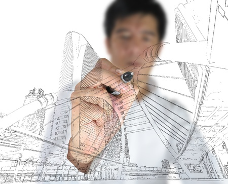 Business man draw building and cityscape Stock Photo - 11858365