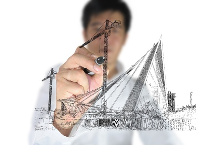 Business man draw construction site Stock Photo - 11858364