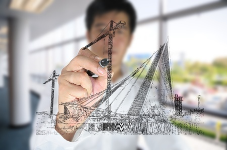 Business man draw construction site Stock Photo - 11858366