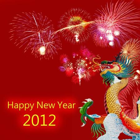 Chinese Dragon on New year card  Zdjęcie Seryjne