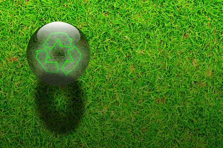 Crystal ball with the word recycle symbol on Green grasses background photo