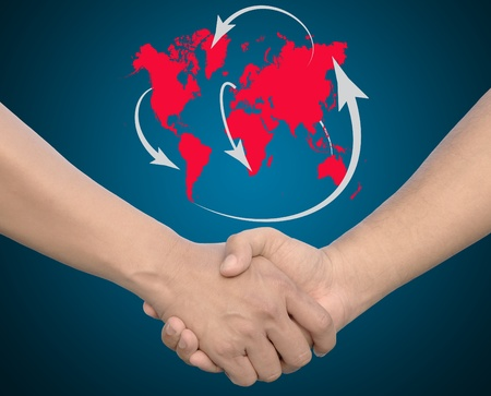 Hand in Hand or handshake with global network  photo
