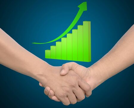 hand in Hand or handshake with 3d growth graph photo