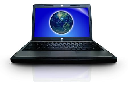 Laptop and Globe concept. photo