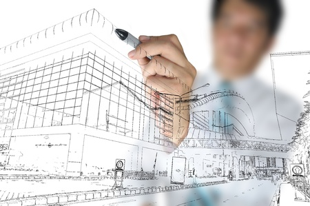 Business man draw building and cityscape Stock Photo - 11858391