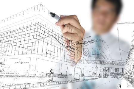 Zakenman gelijkspel bouw-en stadsbeeld