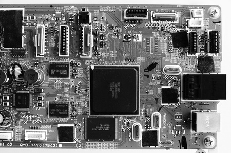 Closeup of electronic circuit board with processor  photo