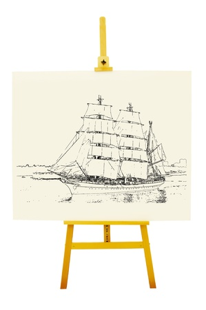 Drawing artboard with image of ship. Clipping path included  photo