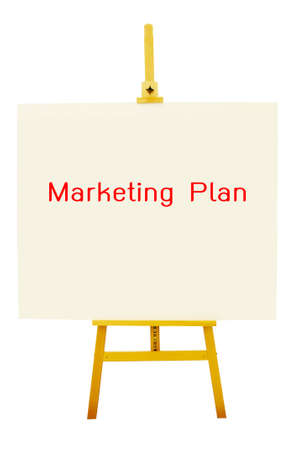 Marketing plan on artboard with easel.  Clipping path included photo